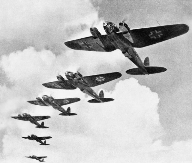Heinkel He 111 bombers during the Battle of Britain, Wikipedia, Public Domain
